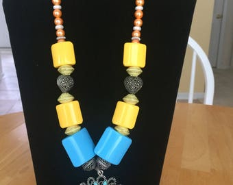 Yellow and blue oxidized finish necklace