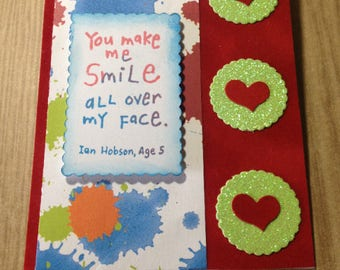You Make Me Smile - Greeting Card - Velour - Green Glitter - Young At Heart