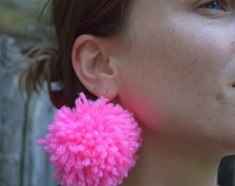Handmade Pink Pom Pom Earrings