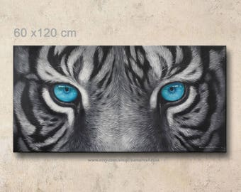 60 x 120 cm, black and white tiger paintings, tiger blue eyes, tiger oil painting on canvas wall decor