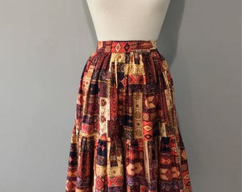 Vintage Gypsy Peasant Skirt, Patchwork Print, Gathered Ruffle, 60's Vintage, Cotton, Metal Zip, Festival Hippy Skirt, Size XS