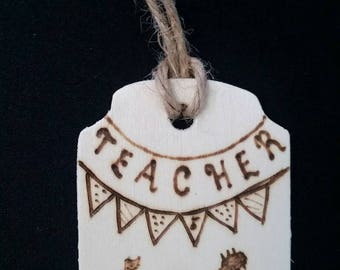 Customizable Woodburned Rustic Ornament