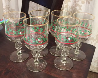 Holly Berry Wine or water goblets