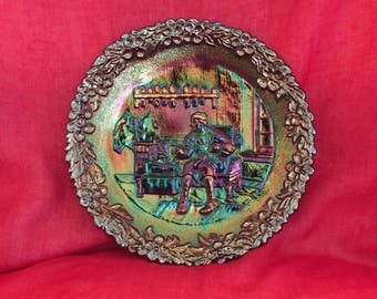 Vintage collectible Fenton carnival glass plate
