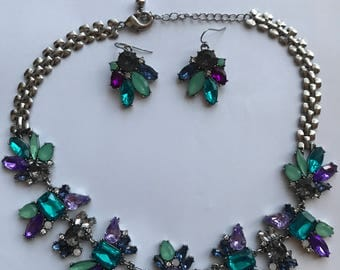 Silver Purple & Teal Flower Bib Necklace and Earring Set