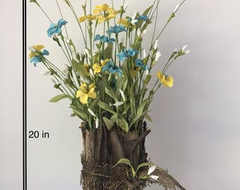Rustic Yellow and Blue Faux Handpicked Flower Arrangment