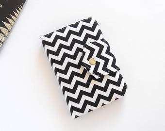 Passport Wallet, Passport Holder, Travel Wallet, Travel Organizer in Black and White Chevron, for 2 or 4 Passports - MADE TO ORDER