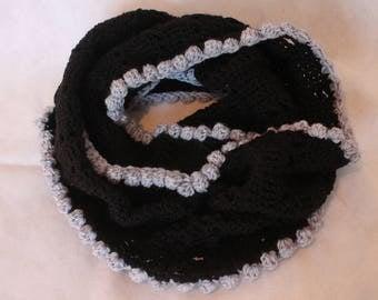 Infinity scarf, Black & bobble, black and grey, handmade crochet scarf