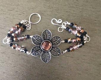 Bronze flower beaded and link bracelet