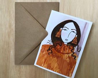 Girl in orange - A6 greetings card