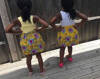 Girls African Print, Ankara Girls Skirt, Summer Skirt, Girls Skirt