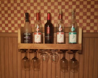 Rustic Wine Rack with Stemware Holder