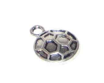 10 x 14mm Silver Soccer Charm - 4 charms