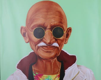 HALF-OFF SALE for New Store:Home Decor Collection Hipstory Hipster Mahatma Gandhi Oversized Stretched Canvas Wall Art24x24 inches