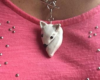 Poly clay grey fox charm