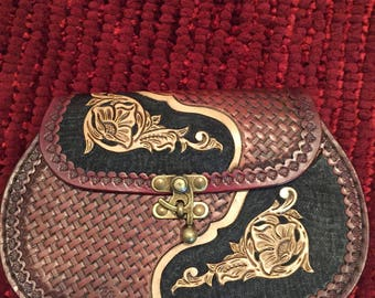 Lovely handmade leather purse with brass latch