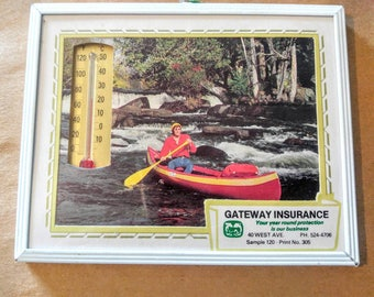 VINTAGE FRAMED THERMOMETER Advertising-Canoe, Fishing, White Water Rafting, Boat-Free Shipping