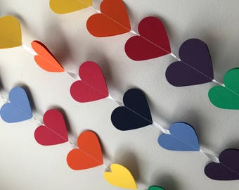 RAINBOW HEART GARLAND, party garland, baby room decor, gay wedding decor rainbow hearts, birthday garland, baby shower, nursery decoration