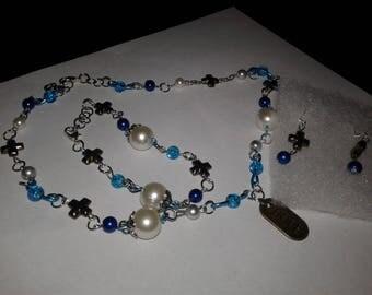 Handmade glass bead jewelry set.