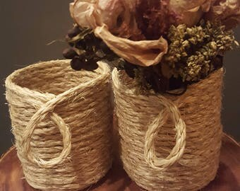 Small Sisal Rope Baskets/Containers - Set of 2