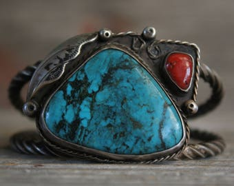 Old Pawn Navajo Native American Stormy Mountain Turquoise Sterling Cuff Bracelet