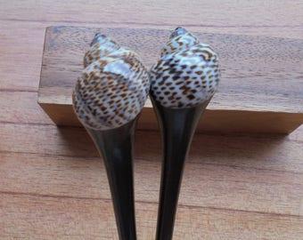 Sea Shell Wood Hair Sticks in 1 Prong, Hair Pin, Hair Fork, Hair Accessories HS105
