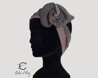 Headband, simple headband all in taupe and gray cotton