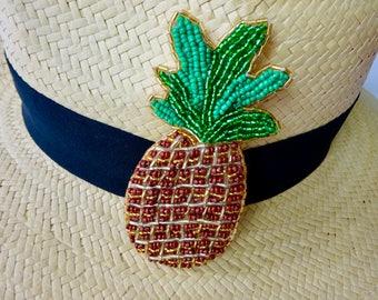 Pineapple hand made glass beaded brooch