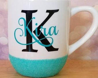 Glitter dipped name mug