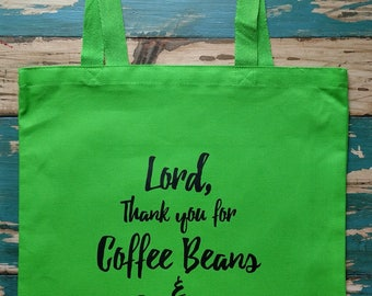 Coffee Beans and Grapes Tote Bag