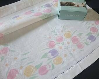 Unused Antique Irish Linen Old Bleach hand painted huckaback Guest towel  ~ Tulips