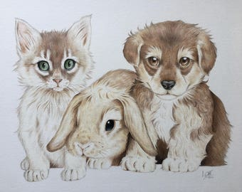 Cuddly Friends- Print
