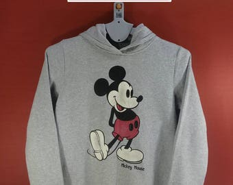 Vintage Mickey Mouse Hooded Sweatshirt Big Logo Shirts Gray Colour Size L Walt Disney Shirts Mickey Mouse Sweaters  Cartoon Animation Shirts