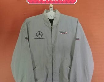Vintage West Mercedes Benz Windbreaker Spellout Big Logo Sweater Custom Design Gray Colour Size XL Adidas Windbreaker Nike Windbreaker