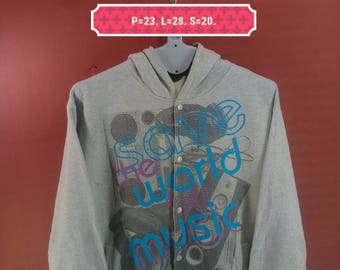 Vintage Pino Bazzo Hoodie Sweatshirt Button Down Spellout Printed Front Shirt Gray Colour Size 3L Adidas Nike Sweatshirt Hip Hop Mtv Pop Art