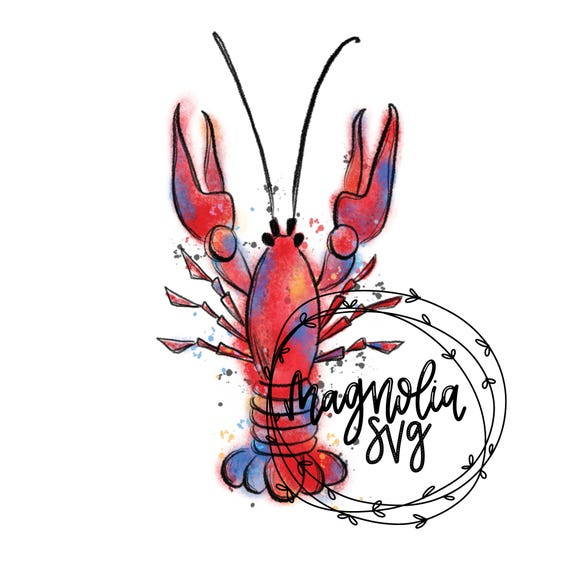Crawfish Watercolor Clip Art, Hand Painted Watercolor