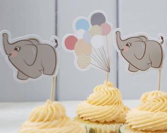 SALE Little One Baby Shower Cupcake Picks, Baby Shower, Gender Reveal,  Elephant Picks
