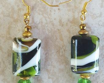 Green Glass  Earrings