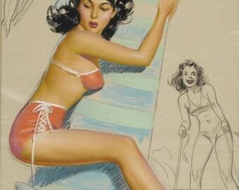 Poster vintage pin up retro deco Munson.