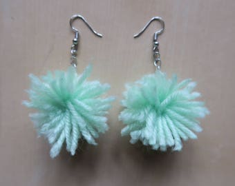 Pastel Green Pom Pom Earrings || Handmade & Cruelty Free