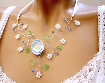 Blue and green branch necklace floral.