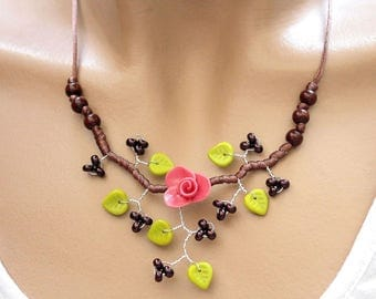 Pink Brown branch necklace