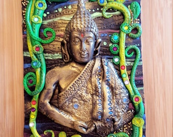 Buddha, polymer clay bookcover, journal , notebook,Buddha journal,Hindu,zen,peace