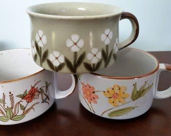 Set of 3 Vintage Mismatched Soup Bowls, Soup Crocks Mugs