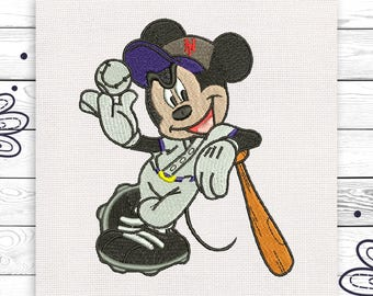 Baseball Mickey Mouse Digital embroidery design 3 sizes INSTANT DOWNLOAD EE5148