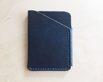 Leather Card Wallet in Navy