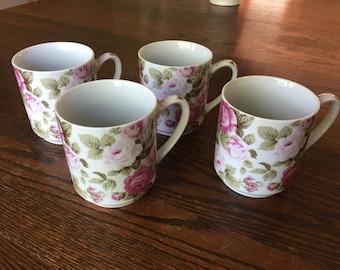 Set of Antique Tea Rose Mugs