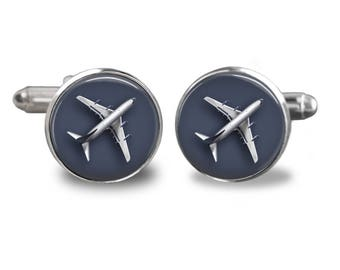 Airplane cufflinks plane cufflinks pilot cufflinks airplane gift mens cufflinks glass cufflinks silver cufflinks mens cuff links