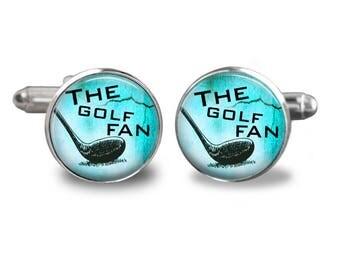 Golf cufflinks golfer cufflinks golfing cufflinks golf ball gift mens cufflinks glass cufflink silver cufflinks mens cuff links