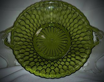 Vintage 1960's Set of Two Avocado Green Relish,Nut or Candy Dishes From Indiana Glass Company
